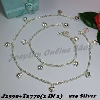 Genuine Silver 925 Anklet & Bracelet (2 IN 1)