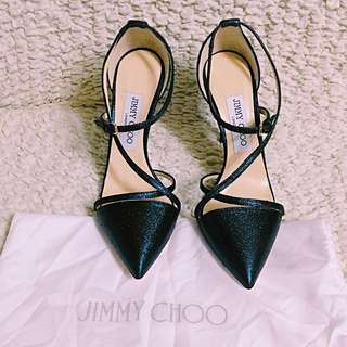 Jimmy Choo Tiff 85 Midnight Dark Blue Pointy Toe Pumps with straps