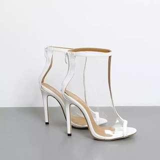 White Vinyl Transparent Ankle Boots size 35 37 39 40