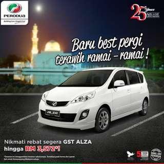 Perodua Alza Kini 0 GST save up to RM3,572