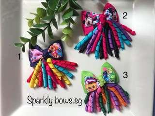 Handmade Grosgrain Ribbon toddler/ girl kid hairbow/ hair bow/ hair clip/ hairclip/ hair tie/ hairtie/ headband