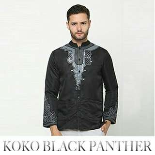 Baju Koko BLACK PANTHER motif Printing