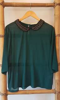 Chiffon Blouse with Beaded Collar