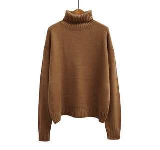 Turtleneck wool jersey