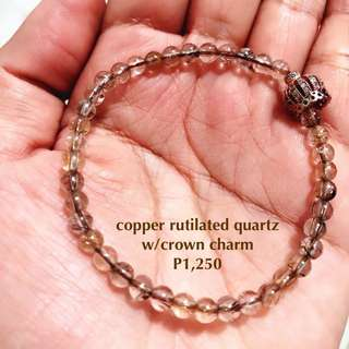 copper rutilated quartz with crown charm spacer