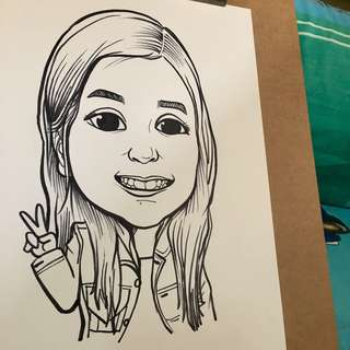 Black & White Caricatures drawing (traditional marker medium)