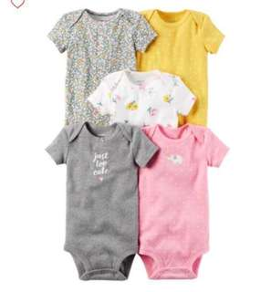 *12M* Brand New Carter's 5-Pack Short Sleeve Bodysuits For Baby Girl