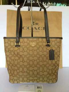 Coach Outlined Signature Top Zip Tote