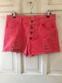 High-waisted coral shorts