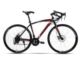"🚚 ➡ XTG Limit Racing 26"" Carbon Steel 21-Speed Mechanical Disc Brakes Road Bike (BLACK/RED)"