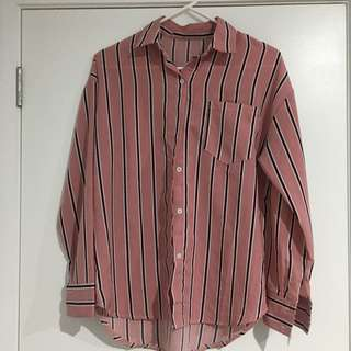 Pink strip shirt free size