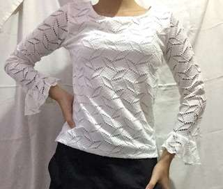 White Lace/Ruffles Long Sleeves