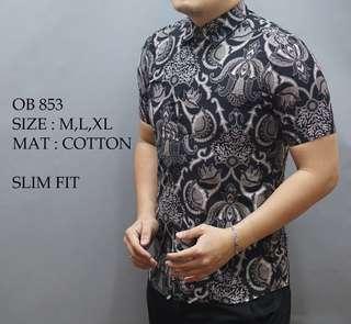 Batik Lengan Pendek Pria Slimfit Premium