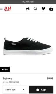 H&M Sneakers black white lace trainers