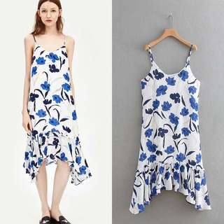 🚚 Europe and the United States wind waist slimming stitching printed skirt A type harness dress