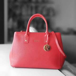 Authentic Never used Furla Red Cabernet Serena Tote Bag