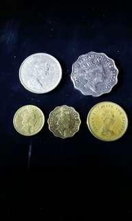 香港舊硬幣。 2元,1元,5毛,2毛,1毛