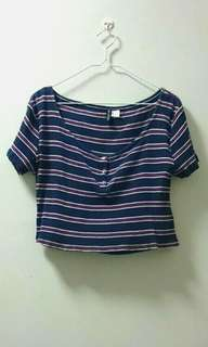 H&M Red, Blue, White Striped Ribbed Crop Top