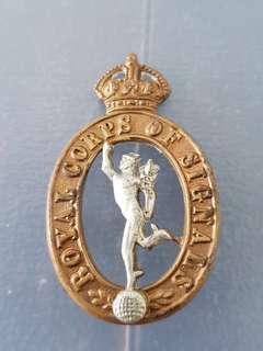 Genuine original WW1/2 British Army Royal Singals cap badge (Pre 1949)