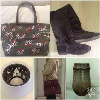 大特價!agnès b. 手袋、麂皮長boot、Hello Kitty 絕版蠟燭座、典雅花瓶、棗紅側揹手挽兩用手袋