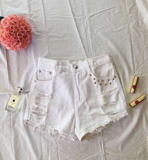 White ripped high-waist shorts