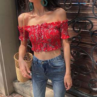 Pleated Off Shoulder With Lace Up Ribbon