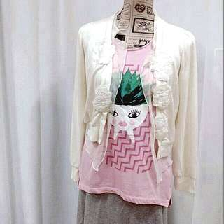 🚚 日本專櫃品牌 珠飾 針織罩衫 內襯軟紗
