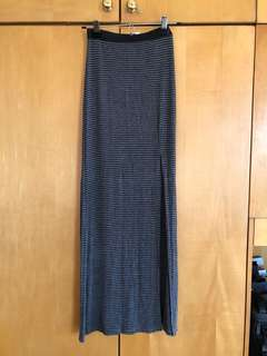 H&M gray/Black striped long skirt with slit