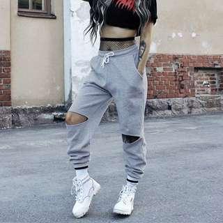 歐洲站2018春夏新款灰色高腰學生休閒褲女鬆緊寬松顯瘦破洞哈倫
