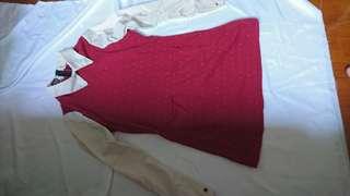 紅白襯衣one piece