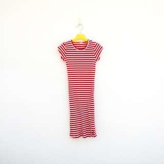 🚚 二手 緊騷 紅白 條紋 彈性 棉質 洋裝 明太子 528