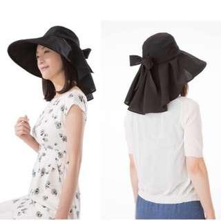 「日本帶回」SHADAN UV CUT 抗紫外線 涼感 防曬帽 遮陽帽 寬大帽沿 後綁蝴蝶結 可折疊收納