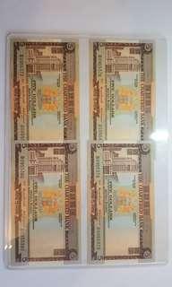 1970年渣打5元4張,4連號,UNC紙,(巳連特大膠保護套)