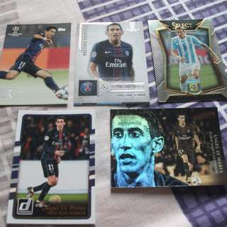 Angel di Maria Panini/Topps trading cards for sale/trade (Lot of 5 cards)