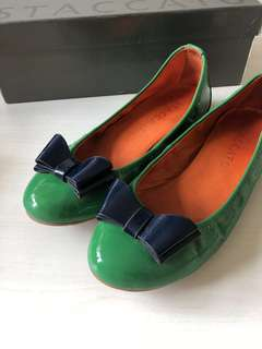 Ribbon Leather ballet Flats Shoes 漆皮平底鞋90%新