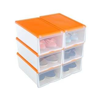 432. Shoe Box, HST Mall Ladies Men Stackable Plastic Shoe Storage Box Organiser with Clear Door Set of 4 33cmx22cmx14cm (Orange_