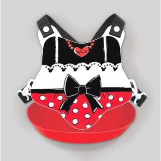 「日本帶回」正版 米妮圍兜 立體口袋 防水 日本製 阿卡將 吃飯衣 迪士尼