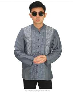 Baju Koko Panjang Elegan Bordir Soft Grey