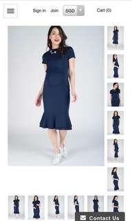 Maternity Wear: Navy Mermaid Hem Bodycon Nursing Dress