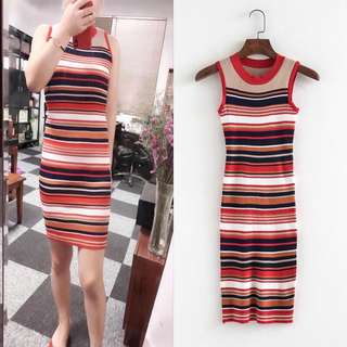 Korean Color Summer Midi Long Vest Skirt Sleeveless Sexy Stripe Knit Dress
