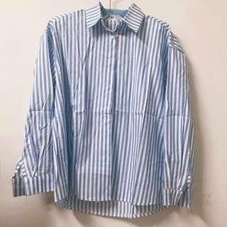 🚚 春夏流行藍白條紋襯衫