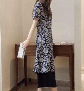 韓國直送:韓國木槿花深藍顯瘦雪紡套裝