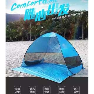 戶外沙灘2人全自動免搭帳篷 秒速打開 遮陽防曬 公園海邊野外露營