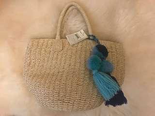 Straw Pom Pom Bag bought from Index in Japan