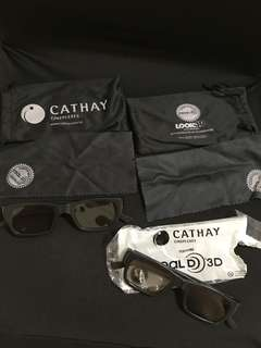 Cathay 3D cinema 3D glasses x 2 pairs with glasses pouch and wipe cloth