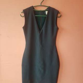 Dark Green Body Con Dress