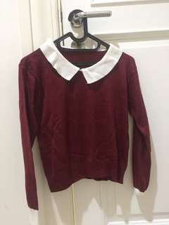 Baju crop top maroon