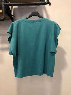 🚚 韓系綠色短袖荷葉袖口文青懶人氣質大碼上衣