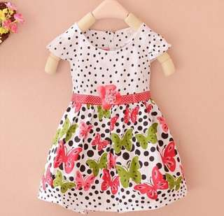 SB 038 Girl Short Sleeve Polka Dot Dress