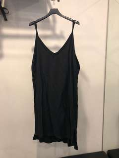 🚚 韓系歐美黑色細肩帶無袖背心長版上衣洋裝孕婦媽媽大尺碼